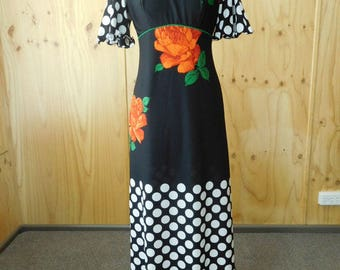 Orange Black and White Floral and Polka Seventies Maxi Dress