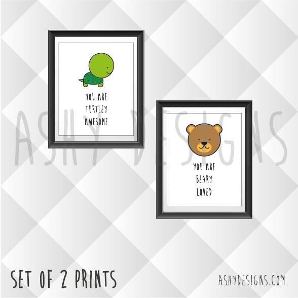 Set Of 2 Animal Wall Artwork Prints Home Wall Decor