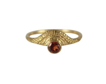 Day Ring with Garnet, January Birthstone Ring, Gold Garnet Ring, Red Garnet Ring, Sun Ring, Sunshine Ring, Sunset Ring, Gemstone Ring,