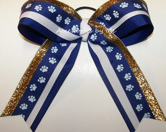 Bulk Price Cheer Bow, Paw Print Blue Gold Bow, Sparkly Ribbon Cheer Bows, Football Cheerleader School Spirit Team, Softball Volleyball Bows