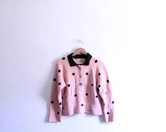 Pink Polka Dot 90s Cardigan Sweater