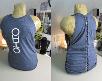 Ohio Refashioned Dark Blue/Gray T-Shirt into Tank Top with Back and Side Woven Cut-Outs