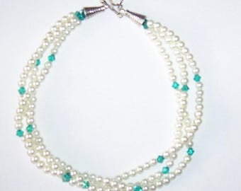 White Pearl and Turquoise Swarovski Crystal Wedding Necklace