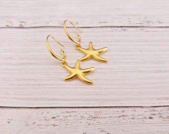 Gold Star Earrings / Gold Starfish Earring/ Beach Wedding Jewelry/ Star Earrings/ Gold Delicate Earrings - On The Beach