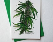 Cannabis Greeting Cards + Envelopes 3 Pack // Watercolor Art Marijuana Weed Stationery