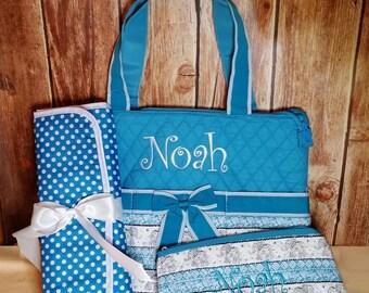 Elephant Boho Print Diaper Bag with Aqua, Zipper Pouch & Changing Pad with Monogram on Diaper Bag and Accessory Bag