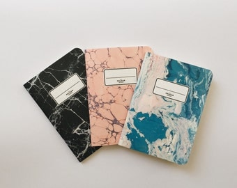 Marbled Pocket Notebooks - 3 Pocket Notebooks Pack - Journal - Sketchbook - Blank pages - Lined pages - Dotted pages