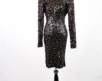 1980s Lillie Rubin Sequined Wiggle Dress