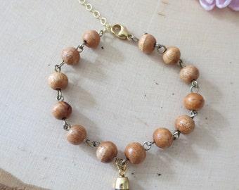 Wood bracelet, Lapis bracelet, wood beaded bracelet, simple bracelet, gift for her,