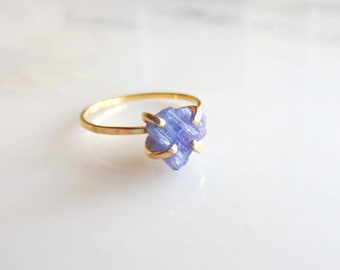 Raw Tanzanite Ring, Rough Stone Ring Gold, Silver Raw Stone Ring, Blue Stone Ring, Gemstone Nugget Ring Made To Order Size 3 through 9 1/2