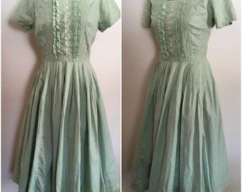 1950s Jonathan Logan Mint Green Embroidered Day Dress