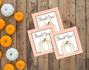 Favor Tags - Little Pumpkin Theme - Little Pumpkin Birthday - Fall Birthday - Pink Peach Gold - INSTANT DOWNLOAD - Printable