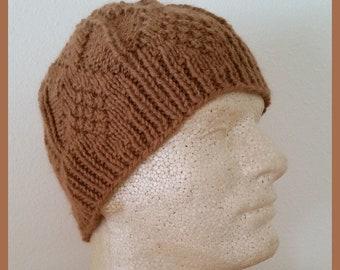 Men's Alpaca Hat Hand-Knit Diamond Design Medium Fawn