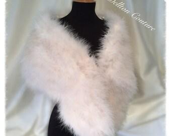 Luxurious Large Ivory Gatsby Feather Marabou Feathers Bridal Wedding Wrap stole.