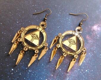 Millennium Ring Earrings Gold Dangle Acrylic Lightweight Hypoallergenic Cosplay Yugioh
