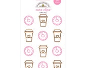 NEW Doodlebug Cute Clips -  Paperclips Coffee Cup & Donut Shapes - for Planners Scrapbooks Card making Gift Wrap