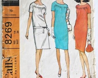 Shift Dress Pattern Vintage 1960s Womens Slim Raglan Sleeve Shift Dress Sewing Pattern Size 16 Bust 36 McCalls 8269