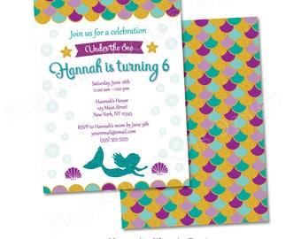 Mermaid Birthday Invitation, Mermaid Invitation, Mermaid Party Invite, Under the Sea Birthday Invitation - Printable Digital File