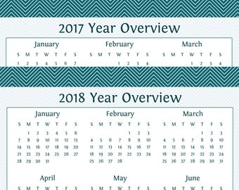Year Overview for 2017 & 2018 - Yearly Calendar - Printable PDF Calendar - Printable PDF - Instant Download