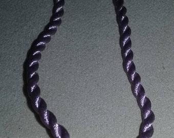Handmade Large Hole Bead On Light Purple Satin Twist Cord Necklace