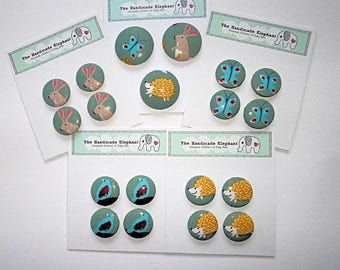 Buttons, 38mm, Covered Buttons, 29mm Buttons, Fabric Buttons, Novelty Buttons, Clothes Buttons, Fastenings, Shank Buttons, Animal Buttons