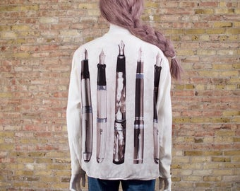 writer's block cream blouse / 80s blouse / cotton blouse / novelty / white button up / cream blouse / novelty print