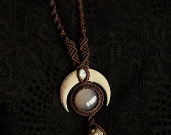 Crescent moon pendant necklace with gray agate and rainbow moonstone. Dark forest necklace, pagan witch, wicca, protection.