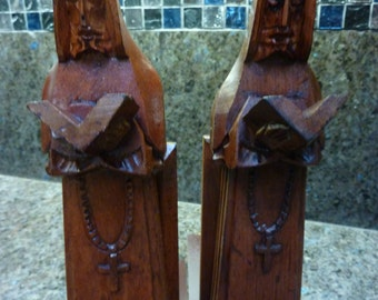 Vintage Hand Carved Wooden Monk Priest Bookends