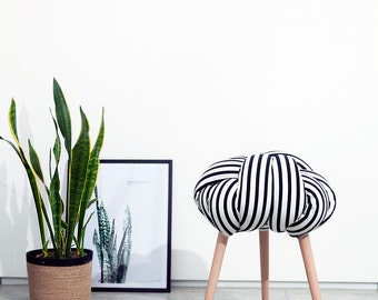 Black and white stripes Knot stool, design chair, modern chair, industrial stool, wood stool