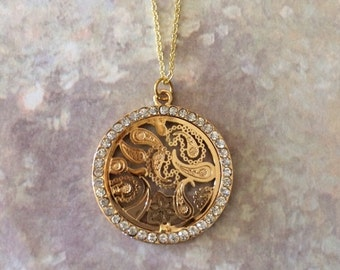 Paisley Jewelry - Gold Rhinestone Necklace - Gold Necklace - Gold Jewelry - Gold Pendant - Gold Round Necklace - Rhinestone Necklace - Gift