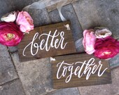 Better Together Chair Signs, Rustic Wedding Signs, Mr and Mrs Signs, Wooden Wedding Signs, Photo Prop Signs, Bridal Keepsake Gift