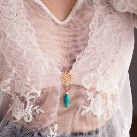 Boho Turquoise Spike Necklace