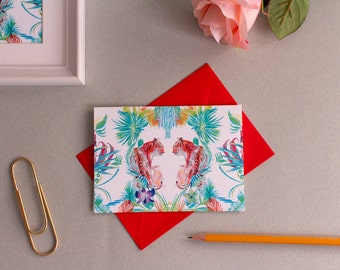 Framed Tropical Tiger pattern A6 card -  Tropical mini print  - frame 15 x 20cm - birthday thank you card - stylish chic - for animal lovers