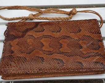 Vintage Handmade genuine Snakeskin handbag purse shoulder bag
