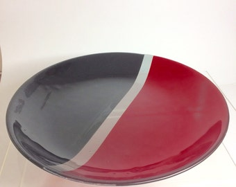 Red and black glass round bowl, weddinggift, fruit bowl, floating flowers bowl