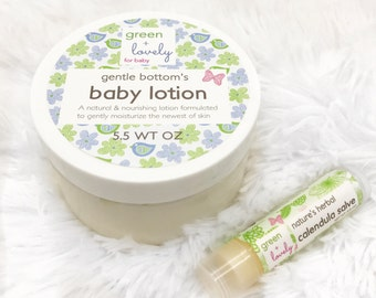 Baby Lotion /// Gentle Bottom's Baby Cream, Baby Butter, Organic Formula, Extra Gentle, Calming Lavender Chamomile, Calendula Infused.