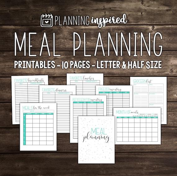 Meal Planner, Printable Meal Planner, Menu Planner, Weekly Meal Planner, Meal Planning, Weekly Menu Planner, 10 Pages, Letter & Half Size