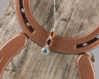 Sterling Silver Pendant/Necklace - Three Stone Pendant/Necklace - 5mm Madeira Citrine - 6mm Red Garnet - 7mm Sky Blue Topaz