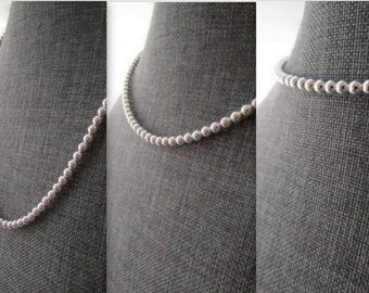 Silver Bead Necklace, Sterling Ball Necklace, Sterling Silver Necklace, 925 Silver Necklace, Sterling Necklace, 14-24 inch, 3-6mm, Gift
