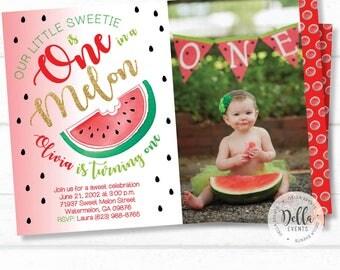 Watermelon Invitation, Watermelon Birthday Invitation, Watermelon Birthday Party, Watermelon Party, Melons, Watermelon, Summer Invitation