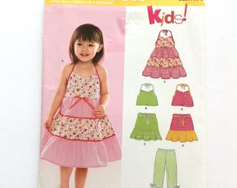 New Look 6502, Infants' Girls' Dress, Top, Pants, Skirt Pattern, Toddlers', Girls' Size 1/2-4, Uncut Pattern