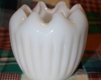 Vintage White Milk Glass Hand Blown Ruffled Edge Vase