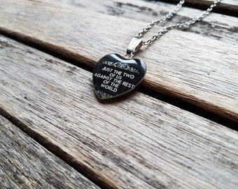 Just the Two of Us Against the Rest of the World - Sherlock Quote Heart Cameo - Sherlock Pendant - Sherlock Necklace - Sherlock Jewelry -BFF