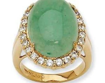 Jackie Kennedy Aventurine Ring - Gold Plated with Crystals, Box and Certificate - Sz 8