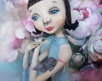 "OOAK Art doll ""The CAT- The MOUSE"""