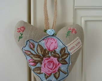 Hanging Fabric Heart, Embroidered Applique Heart, Gift for Girlfriend, Gift for Mother, Fabric Roses, Housewarming, Vintage Padded Heart