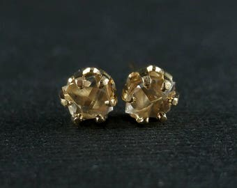 April Birthstone - 5mm Genuine Herkimer Diamond Stud Post Earrings in 14/20 Yellow Gold Filled - Minimalist Earrings - Raw Diamond Earrings