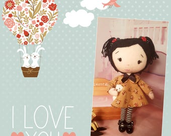 Anna 21cm posable doll w mini bear soft merino wool felt doll giftboxed
