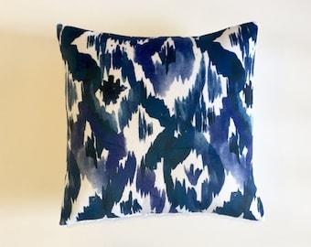 indigo ikat pillow cover navy blue cobalt white diamonds tribal watercolor ink blot minky