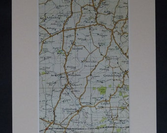 1950s Vintage Suffolk Map of Swilland, Witnesham Decor, Available Framed, Culpho Art, Cartography Gift, Ashbocking Wall Art, Old Otley Print